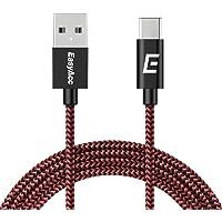 EasyAcc 2m/6.6ft Nylon trenzado Tipo C Cable Tipo A Tipo C Cable de datos Compartible con Samsung S9 S8, Nokia N1, Nexus 5X/6P, Lumia 950XL / 950, LG G5, LG G6, OnePlus 2, conmutador, negro y rojo