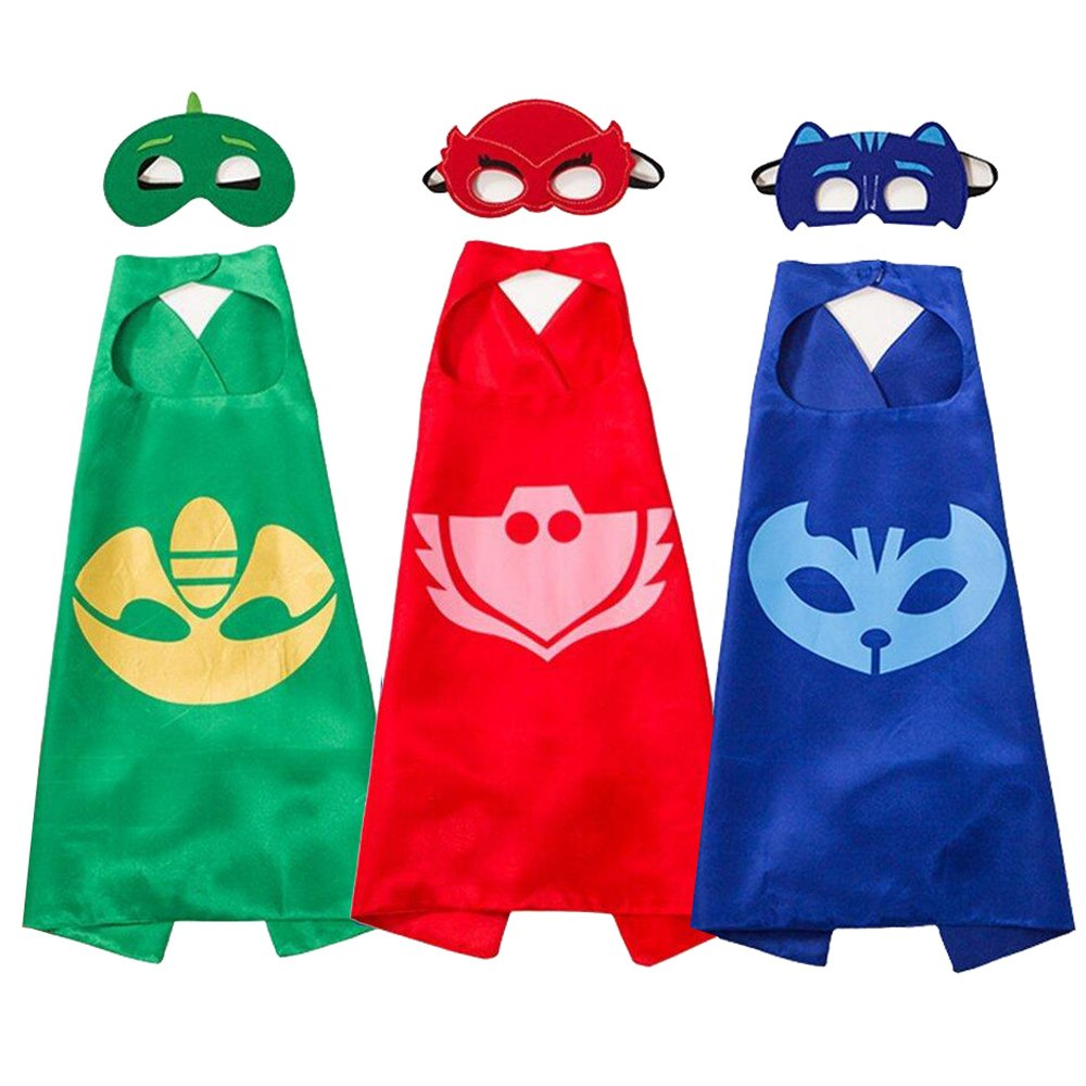 Superhero Masks Costumes and Dress up For Kids - Superhero Catboy Owlette Gekko Capes and Masks 3PCS Fun Factorys