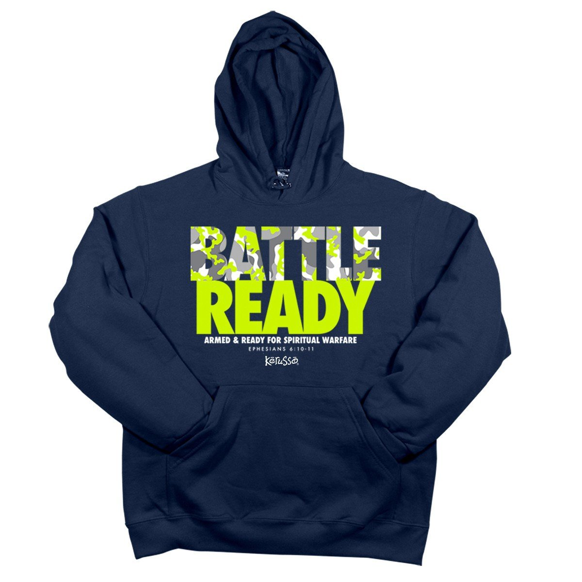 Battle Ready, Hooded Sweat, LG, Navy - Christian Fashion Gifts