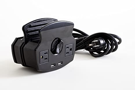 NuPlug Extension Cord with Clamp Mount Desk Furniture Power Station (BLACK)