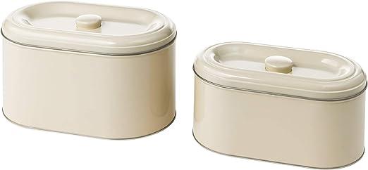 IKEA 003.332.64 Berömlig - Caja de almacenaje con tapa, 2 unidades, color beige: Amazon.es: Hogar