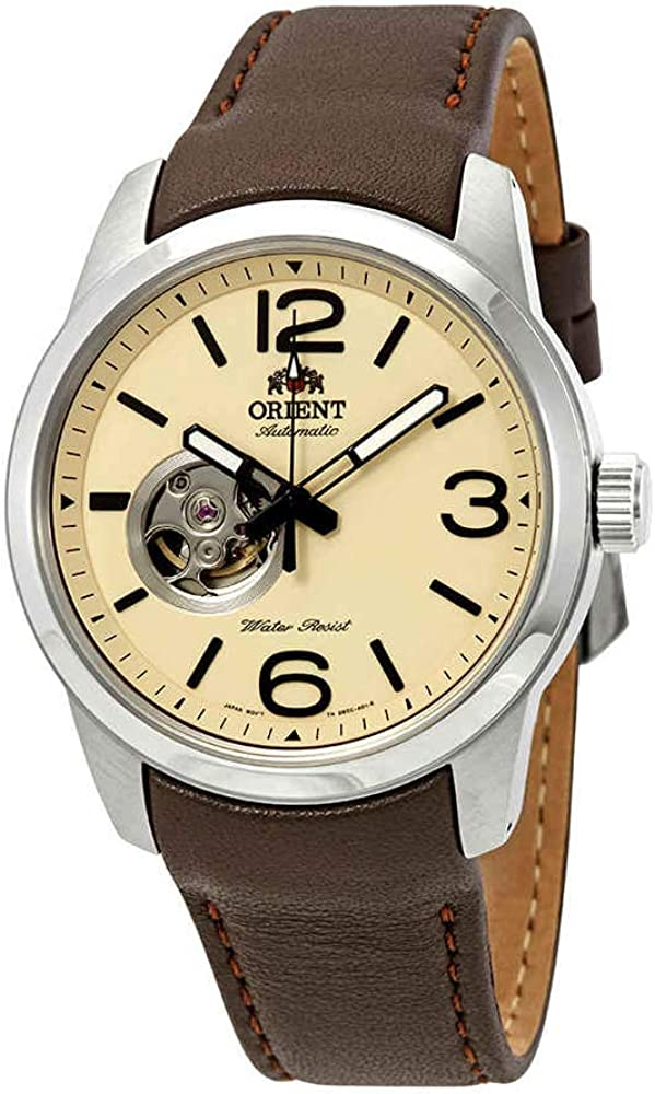 Orient Men s Scout Japanese Automatic Stainless Steel and Leather Sport Watch, Color Brown Model FDB0C005Y0