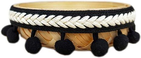 Navy Blue Yalulu 10 Yards Mini Pom Pom Trim Ball Fringe Ribbon Tassel DIY Craft Sewing Accessory for Home Curtain Clothes Pillow Decoration