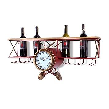 Montado en la Pared del Estante del Vino Modelo de avión Hierro Retro Sostenedor de la Botella de Vino Sostener 4 Botellas Sostenedor para la decoración del ...