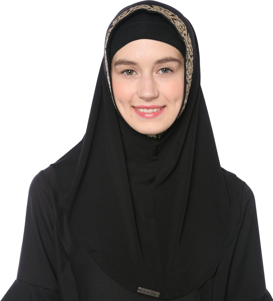 Ababalaya Women's Muslim Glitter Sequins Solid Jersey Headscarf Instant Hijab Ready to Wear Hijab,Black