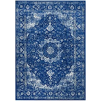 Delightful Traditional Persian Vintage Fancy Dark Blue Area Rugs, 4 Feet By 6 Feet (4