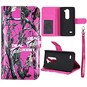 Wallet Camo Pink RGHT For LG Tribute 2 LS665 Flip ID Slot Pouch HD Premium Printed PU Leather Wallet Phone Case with Magnetic Closure Snap-on Protector Shell Case Cover Cover