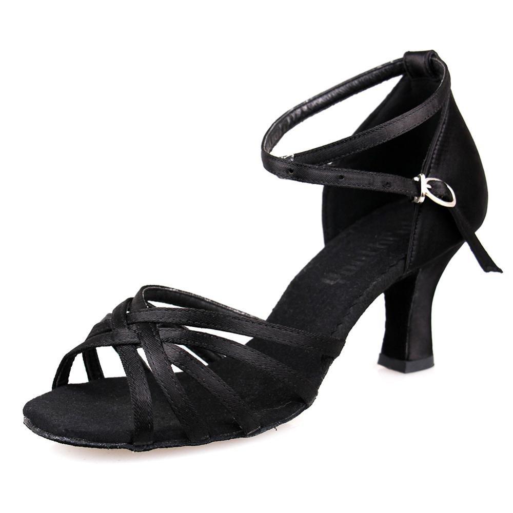 YFF Latin Dance Schuhe Satin professionelle Ballroom Tango Schuhe dünnen Absätzen Salsa, 5cm Schwarz, 3,5