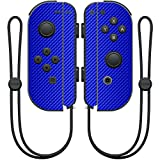 MightySkins Protective Vinyl Skin Decal for Nintendo Joy-Con Controller wrap cover sticker skins Blue Carbon Fiber