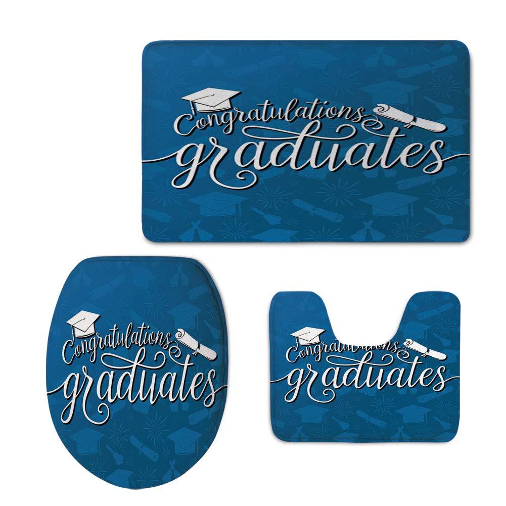 iPrint Fashion 3D Baseball Printed,Graduation Decor,College Celebration Ceremony Certificate Diploma Square Academic Cap,Blue and White,U-Shaped Toilet Mat+Area Rug+Toilet Lid Covers 3PCS/Set