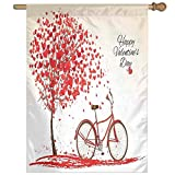 HUANGLING Romantic Tree Blooming Red Hearts With Bike And Petals Vintage Home Flag Garden Flag Demonstrations Flag Family Party Flag Match Flag 27''x37''