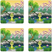 King Coaster Set of Four by Ambesonne, Fairytale Inspired Cute Little Frog Prince near Lake on Moss Rock with Flowers Image, Square Hardboard Gloss Coasters for Drinks, Multicolor