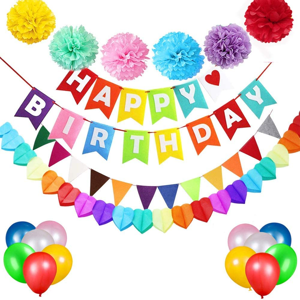 REYOK Colorful Birthday Decorations,Happy Birthday Banner Bunting Garland with Pom Poms Party Balloons and Rainbow Color Felt flags Party Supplies Multicolour