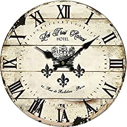 Grazing 10 Roman Numeral Design,Vintage Rustic Shabby Chic Style Wooden Round Home Decoration Wall Clock (Vintage)