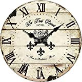 "Grazing 10"" Roman Numeral Design,Vintage Rustic Shabby Chic Style Wooden Round Home Decoration Wall Clock (Vintage)"