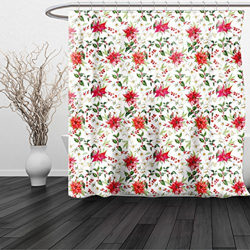 Vermilion Wood Lighthouse (HAIXIA Shower Curtain Watercolor Fresh Poinsettia Flowers and Rowan Berry Branches Christmas Garden Vermilion Green Magenta)