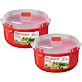Sistema Microwave Cookware Bowl (2 Pack) Round, 30.4 Ounce/ 3.8 Cup, Red