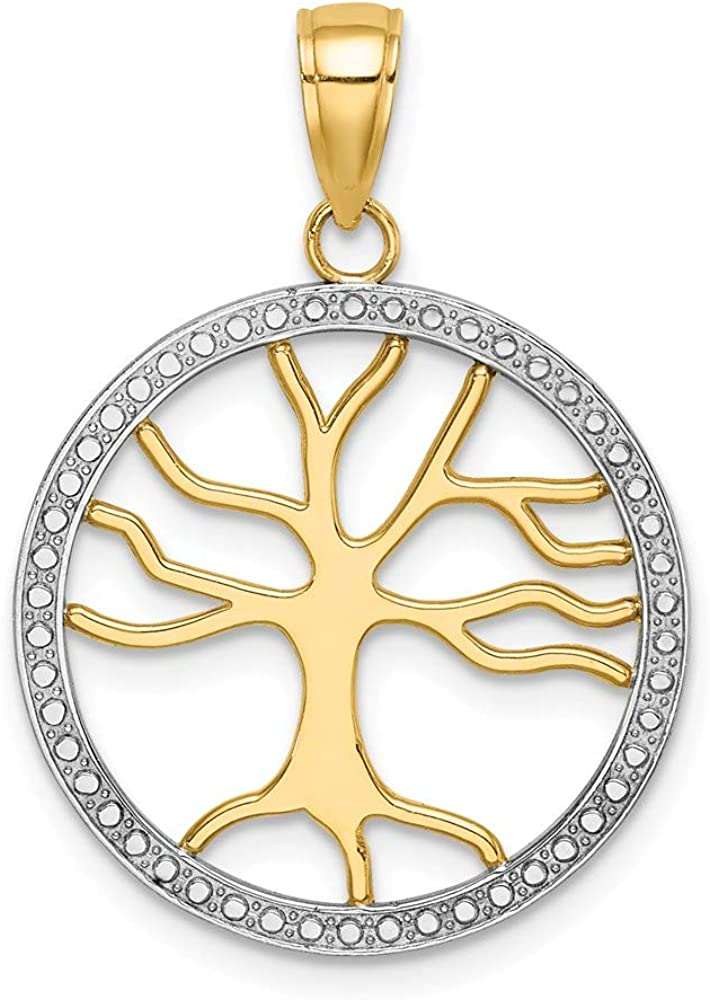 FB Jewels 14K White Gold White 3D Small Tree Of Life In Round Frame Cut Out Pendant