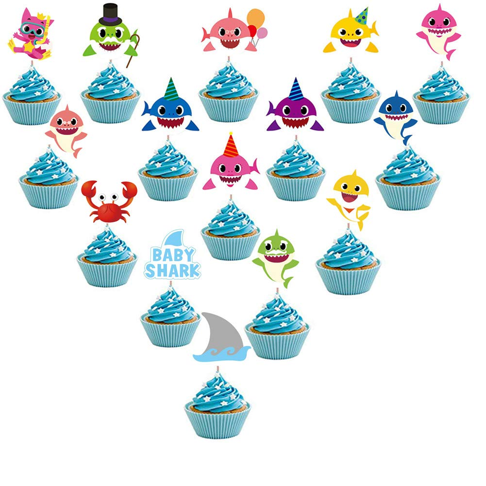 60pieces Shark Cupcake Toppers Shark Theme Party Supplies- Shark Family Baby Shower Birthday Party Decorations by MZYARD