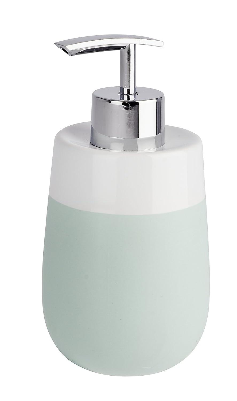 Wenko 22535100 Seifenspender Malta blau/weiß Flüssigseifen-Spender Fassungsvermögen 0.3 L, Keramik, Dunkelblau, 7.5 x 7.5 x 15.5 cm