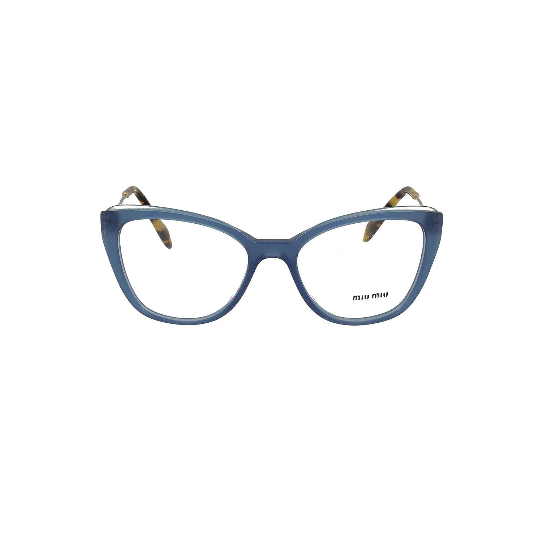8a35fd354099 Miu Miu MU 02QV - VYC1O1 Eyeglass Frame BLUE/TOP TRANSPARENT BLU/DEMO LENS  51mm at Amazon Men's Clothing store: