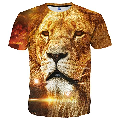 Animal Print Shirts - Hgvoetty Mens Womens Lion Shirts 3D Animal Printed Short Sleeve Graphic Tees Medium