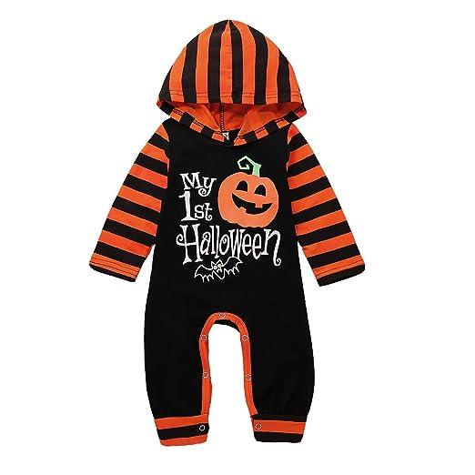 one piece romper newborn boys girls my 1st halloween pumpkin hooded romper jumpsuit stripe onesies
