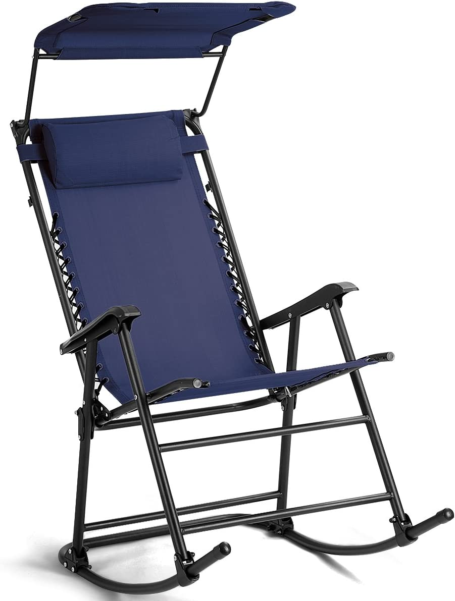 Goplus Folding Rocking Chair w Shade Canopy, Portable Zero Gravity Recliner for Outdoor Lawn Beach Patio Pool