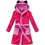 feetoo Bear Embroidered Child Bathrobe boy Pajamas Coral Cashmere Robe