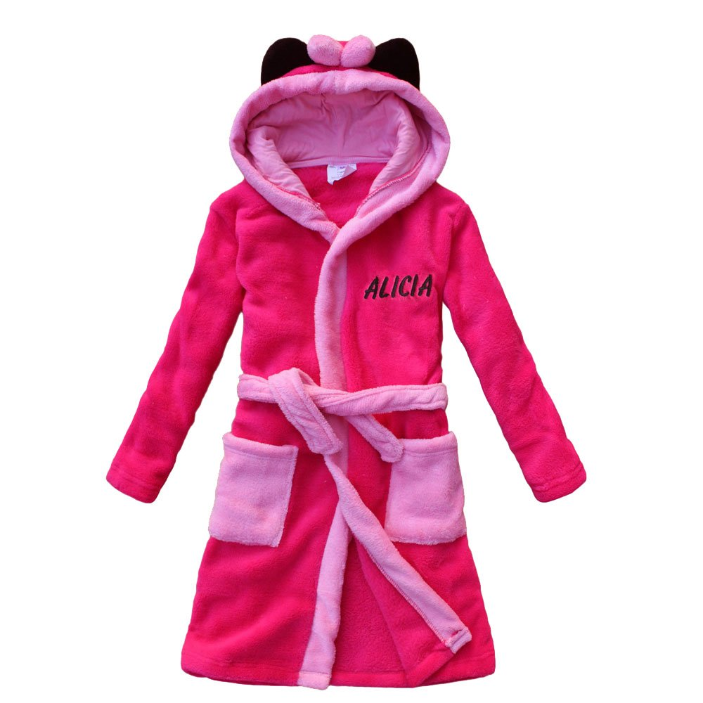 feetoo [Embroidered Name Girl Bathrobe Plum red Coral Velvet Children's Robes