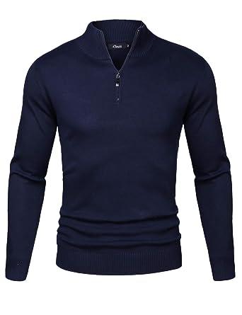 iClosam Herren Strickpullover Slim Fit Strick Pullover Mit Stehkragen Und  Reißverschluss  Amazon.de  Bekleidung 12c1f76bb5