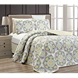 """Fancy Collection 3 pc Bedspread Bed Cover Modern Reversible White Yellow Green Grey New #Linda Yellow Full/Queen Over size 106""""x 95"""""""