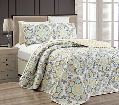Fancy Collection 3 pc Bedspread Bed Cover Modern Reversible White Yellow Green Grey New #Linda Yellow Full/Queen Over size 106