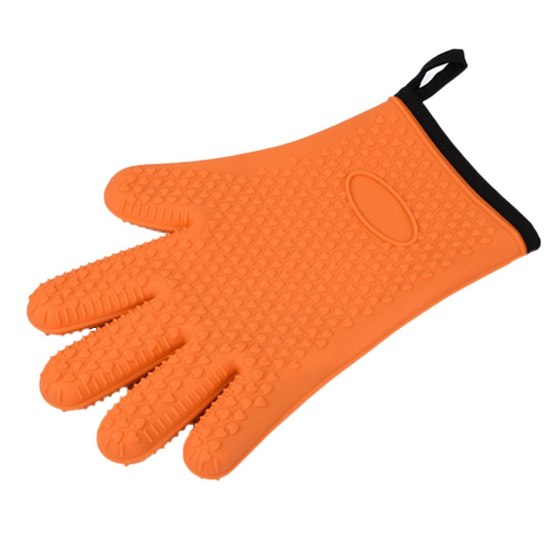 (Blue) - Blue Heat-Resistant Silicone Gloves with Cotton Interior Liner B07283HNGF オレンジ オレンジ