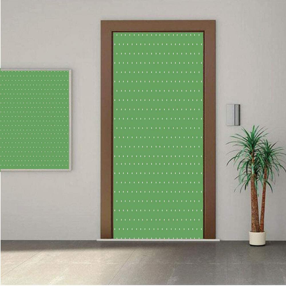 Ylljy00 Green Premium Stickers for Door/Wall/Fridge Home Decor50s 60s Style Retro Vintage Inspired Simple Decor with Little Polka Dots Image Decorative 18x80 ONE Piece Sticky Mural,Decal,Cover,Skin