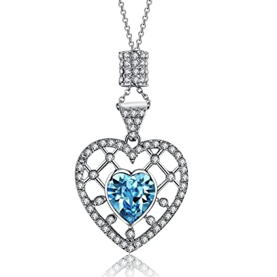 Amazon lelekiss aquamarine birthstone swarovski crystal lelekiss aquamarine birthstone swarovski crystal filigree heart pendant necklace for women 18 aloadofball Gallery
