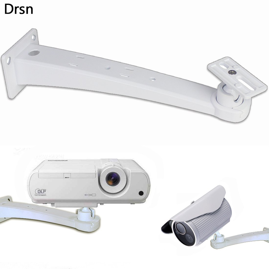 Drsn 12.59 inch/32cm Wall Mount Mini Wall Mount Projector CCTV DVR Camera Mount Projector Hanger with Load 11.02 lbs Mounting Screw Rotation 360° White for Projector Canera Camcorder