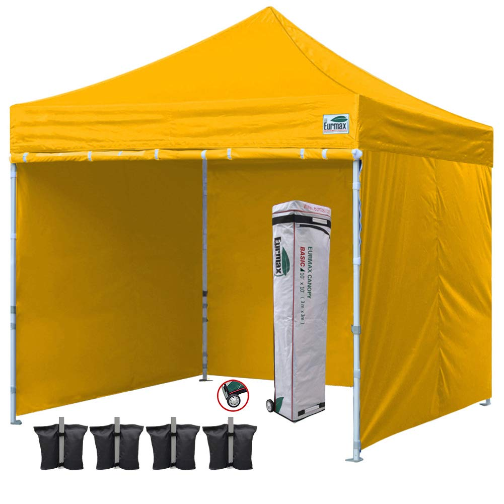 Eurmax 10'x10' Ez Pop-up Canopy Tent Commercial Instant Canopies with 4 Removable Zipper End Side Walls and Roller Bag, Bonus 4 SandBags(Gold)