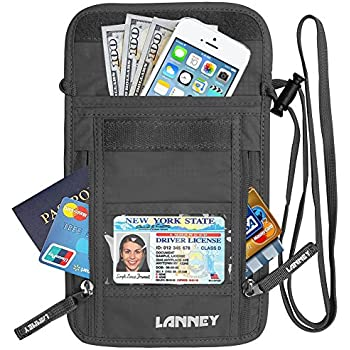 Amazon Com Neck Wallet Travel Pouch Rfid Blocking Money