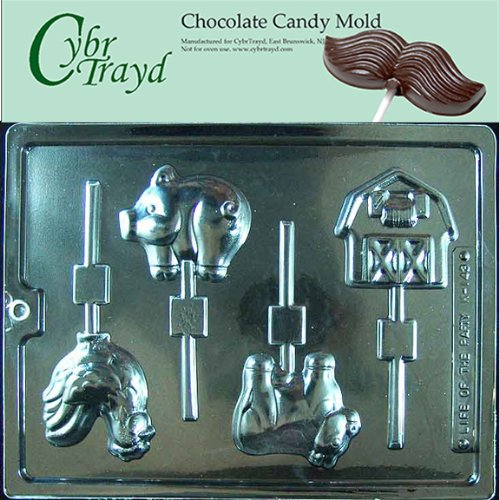 - Cybrtrayd Life of the Party K143 Farm Animal Barn, Pig, Cow Chicken, Rooster Lolly Chocolate Candy Mold in Sealed Protective Poly Bag Imprinted with Copyrighted Cybrtrayd Molding Instructions