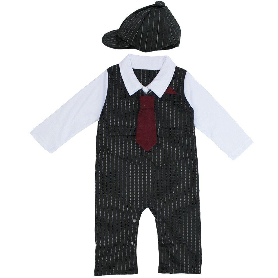 YiZYiF 3pcs bebés chicos pijama traje & sombrero & Corbata 3 - 24 ...