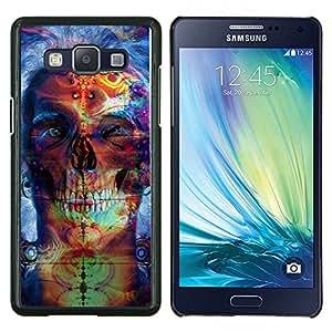 TECHCASE---Cubierta de la caja de protección para la piel dura ** Samsung Galaxy A5 ( A5000 ) 2014 Version ** --Psychedelic Neon Skull