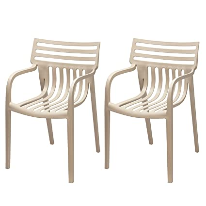 Miraculous Adeco Patio Outdoor Plastic Dining Stackable Chairs Beige Set Of 2 Ncnpc Chair Design For Home Ncnpcorg