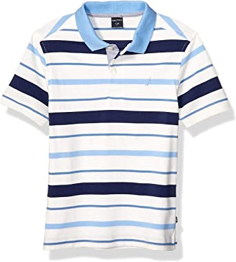 5 Medium Nautica Little Boys Short Sleeve Solid Deck Polo With Tipped Collar Sport Navy