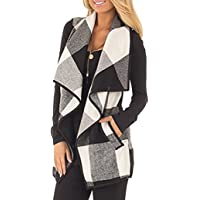 SocoToo Women's Color Block Lapel Open Front Sleeveless Plaid Vest Cardigan with Pockets