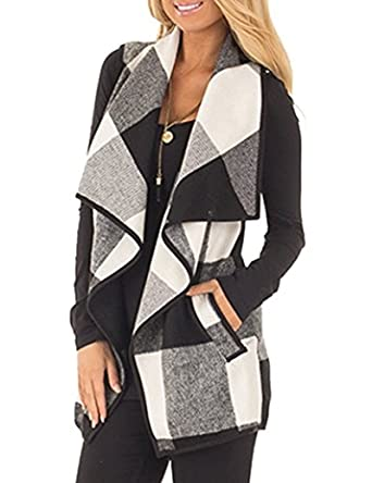 Rvshilfy SocoToo Women s Color Block Lapel Open Front Sleeveless Plaid Vest  Cardigan with Pockets (Black 28e9ce489