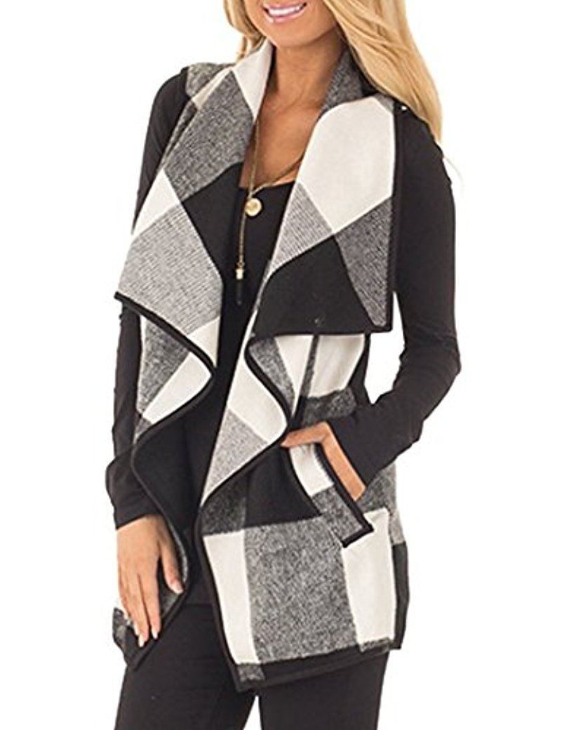 SocoToo Women's Color Block Lapel Open Front Sleeveless Plaid Vest Cardigan with Pockets (Black, XX-Large)