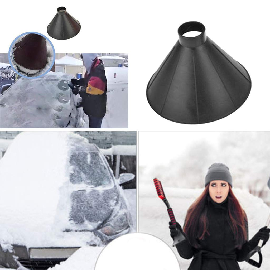 Chezaa A Round Magic and Efficient Windshield Ice Scraper Snow Shovel Tool to Clear Ice and Snow for Your Cars or Trucks (Black 1)