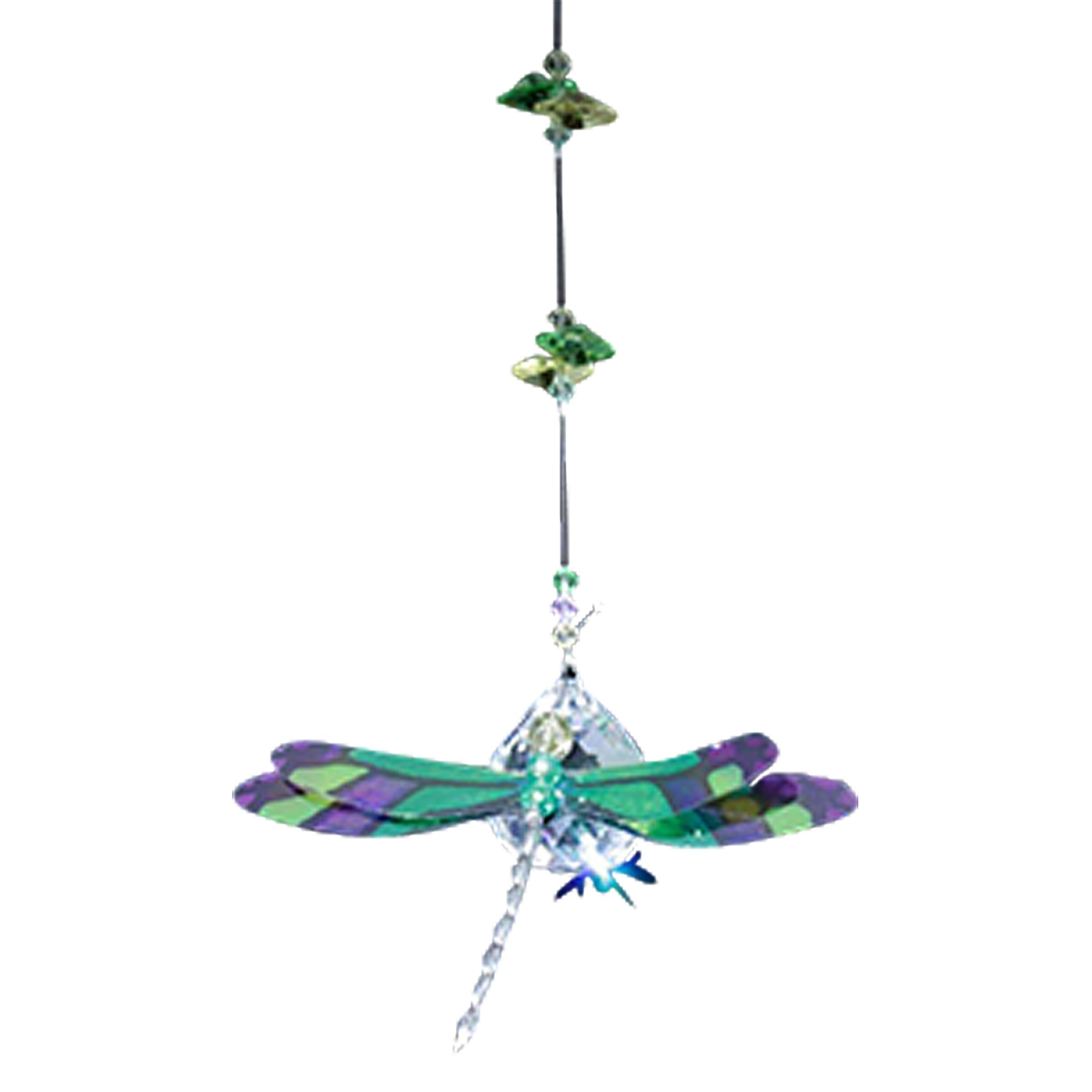 Dragonfly Figurine in Green & Purple with 30mm Crystal Clear Ball Bead - Rainbow Maker - Crystal Suncatcher - Home, Living Room, Bedroom, Kitchen, Car Decoration - Porch Decor - Sun Catcher - Hangings Crystal Glass Ornament