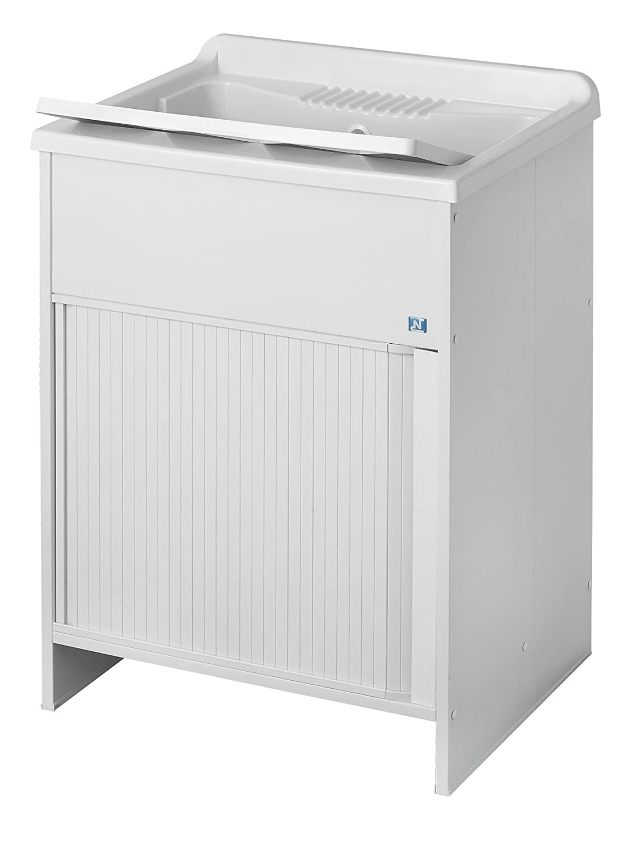 Negrari 4002K Wash Basin with Shutter-Style Door, PVC, White, 60 x 50 x 85 cm